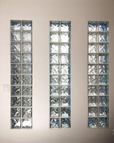 These inserts within the sheetrock offer the perfect blend of design element to an otherwise boring wall. Glass Block offers light transmission, privacy and a design feature! Glass Blocks Wall, Glass Block Windows, Block Wall, Glass Panels, Window Glass, Glass Design, Wall Design, House Design, Glass Block Shower