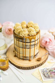 This Salted Caramel Cake is to die for! Homemade caramel sauce, rich chocolate cake and the BEST caramel frosting | SupergoldenBakes.com Cake Mix Recipes, Sweets Recipes, Salted Caramel Chocolate Cake, Caramel Frosting, Homemade Caramel Sauce, Lemon Cake Mixes, Trifle Recipe, Blueberry Recipes, Homemade Desserts