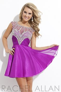 6730 Violet size 10 Chiffon A-Line with AB stones.