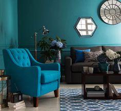 Dulux teal tension Teal Rooms, Teal Living Rooms, Living Room Colors, Living Room Paint, My Living Room, Living Room Decor, Teal Wall Colors, Monochromatic Room, Snug Room