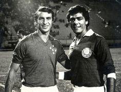 Piazza e Cesar, antes de um Cruzeiro x Palmeiras do inicio dos anos 70