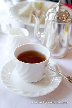 Pretty Tea Cup & Saucer w/Silver Teapot