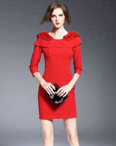 Red Beaded 3/4 Sleeve Plain Bodycon Mini Dress,Red,O.S.Y - VIPme
