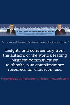 Insights and commentary from the authors of the world's leading business communication textbooks, plus complimentary resources for classroom use. Textbook, Authors, Insight, Communication, Classroom, Teaching, World, Gallery, Business