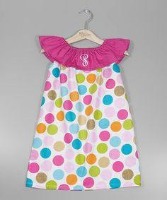 Pink Polka Dot Initial Yoke Dress - Infant, Toddler & Girls $36.99 by Zulily