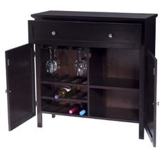 Wine Cabinet maybe take off the left door and leave the glasses and wine exposed? could put liquor in the other side