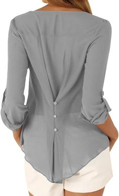 OMZIN Damen Tops Chiffon Langarm Shirts Casual Bluse Knöpfe Decor Asymmetrisch Shirts Tops Grau M: Amazon.de: Bekleidung