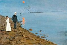 On Moonlight Bay of Vyborg - Hugo Simberg , Finnish, On Moonlight Bay, Outsider Art, Cool Artwork, Finland, Mystic, Folk, Romantic, Inspiration, Figurative