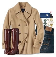 """""""burgundy boots"""" by emmig02 ❤ liked on Polyvore featuring Brooks Brothers, David Yurman, Abercrombie & Fitch, Lands' End, Hunter, Kate Spade, LifeProof and Butter London"""