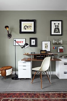 home office wall colors with grey wall color and framed wall art and storage and decor : Great Home Office Wall Colors. home office color schemes,home office design,home office paint colors,office paint color ideas,paint home office Home Office, Office Workspace, Office Walls, Office Decor, Office Ideas, Office Spaces, Home Living, Living Room Decor, Decoration Inspiration