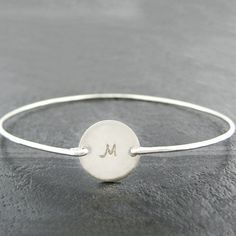 Stackable Bangle  Sterling Silver Initial  by jcjewelrydesign, $24.00