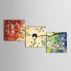 Hand Painted Oil Painting Landscape Mandarin Ducks Birds with Stretched Frame Set of 3 – USD $ 129.99