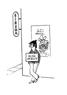 Caricatura de Gh. Chiriac din brosura ANUNTURI publicata de Uniunea Artistilor Plastici din Romania. Autorul este cunoscut mai ales pentru caricaturile publicate in revista de satira si umor URZICA.