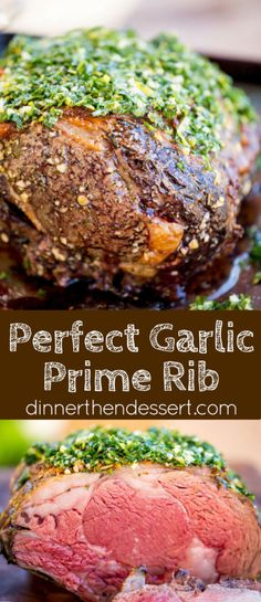 Perfect Garlic Prime Rib made with a garlic, thyme and rosemary crust is gorgeously browned on the outside and a perfect medium on the inside. Topped of with a gremolata it is the perfect show-stopping holiday/event meal! Beef Dishes, Food Dishes, Main Dishes, Roast Recipes, Cooking Recipes, Prim Rib Recipes, Drink Recipes, Grilled Recipes, Game Recipes