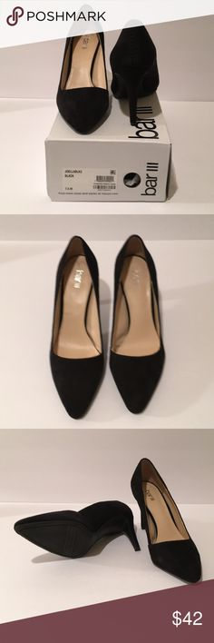 Bar III Black Suede Pumps Size 7.5 To go with your Little Black Dress, these Sky High Pumps! In great condition as the photos show. You'll feel empowered wearing these 3.5 inch heels with your dress (or pant) of choice. Be your own purveyor of today's style! Bar III Shoes Heels