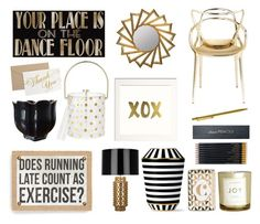 Black & Gold Decor by thestyleartisan on Polyvore featuring polyvore, interior, interiors, interior design, home, home decor, interior decorating, Kartell, Robert Abbey, Kate Spade, Primitives By Kathy, Sloane Stationery, Fürstenberg, Cooper Classics, H&M, Rosanna and Cartier