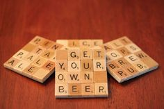 Scrabble Coasters with Recycled Wood Scrabble Tiles And Sturdy Game Board Backing Set Of Four WHATS ON TAP