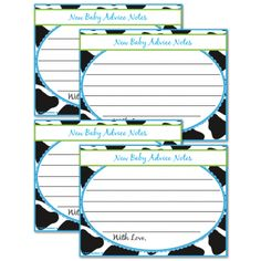New Baby Advice - icebreaker game for baby shower themed with cow print cookies and milk
