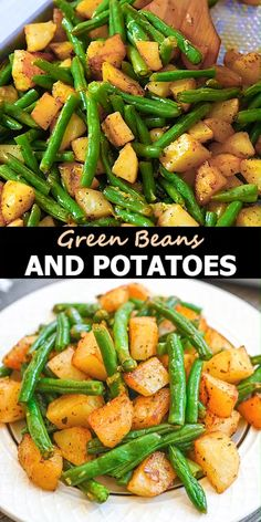 These Roasted Green Beans and Potatoes will make a great addition to your dinner table. Simple and delicious, it's the perfect side to add to any meal.   FOLLOW Cooktoria for more deliciousness! If you try my recipes - share photos with me, I ALWAYS check!  #greenbeans #potatoes #vegetarian #vegan #dinner #plantbased #cooktoria Green Beans And Potatoes, Roasted Green Beans, Green Onions, Baked Green Beans, Garlic Green Beans, Healthy Meal Prep, Healthy Eating, Clean Eating, Lunch Meal Prep