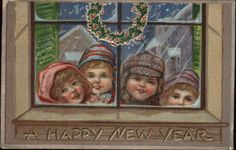 New Year Children Outside Look in Through Window c1910 Postcard | eBay