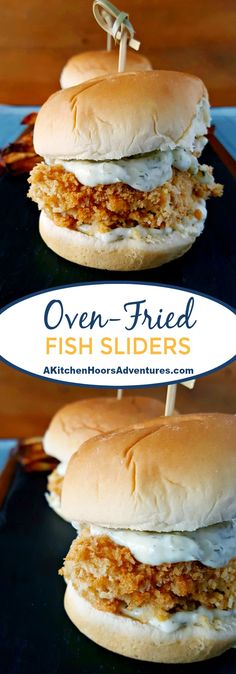 A craving for a fried fish sandwich inspired these super crispy, Oven Fried Fish Sliders. The crunch alone will get you addicted to these flavorful and healthier fish sandwiches. #SundaySupper #gameday #gamedayfood #tailgating #fingerfood