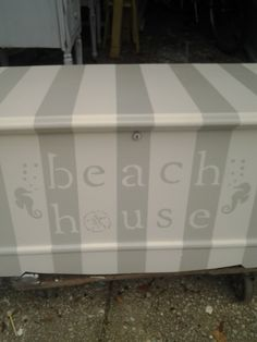 Old trunk painted with beachy stripes