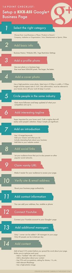 HOW-TO: Setup Google Plus Business Page. Read FULL details at: http://www.twelveskip.com/marketing/social-media/1235/checklist-setup-a-google-plus-business-page