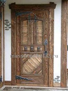 Custom furniture in Moscow from pine, oak: Front door wood antique