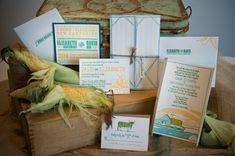 *Love the barn door fold. Illustrated 'farm wedding' invitation. Nice.