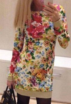 Refreshing Round Collar Flower Print Long Sleeve Bodycon Dress For Women