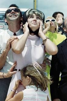 Can you imagine saying: my husband is going to the Moon? Barbara Cernan, wife of astronaut Eugene Cernan, watches the launch of Apollo 10 in Florida in May 1969 with her daughter, the aptly named Teresa Dawn.