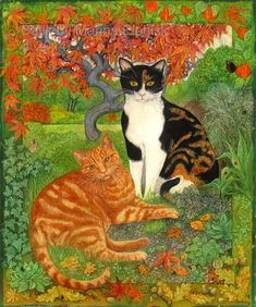 Ginger and Tortoise, batik on cotton by Marina Elphick