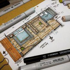 """ MasterBedroom "" resort interior #arquitetapage #sketching #sketch…:"
