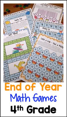 End of Year Math Games Fourth Grade by Games 4 LearningThis collection of end of year math games contains 14 printable games that review a variety of fourth grade skills. These games are ideal as end of year games.