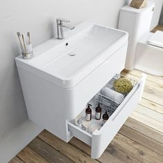Mode Planet white wall hung vanity drawer unit and basin 800mm…