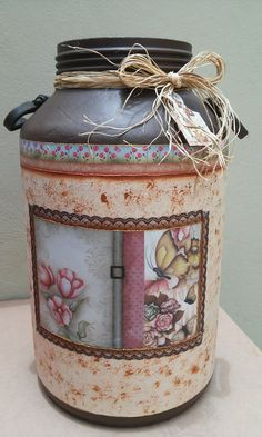 Painted Milk Cans, Painted Mason Jars, Paper Basket, Tole Painting, Shabby Chic Furniture, Art Decor, Glass Art, Diy And Crafts, Unique Gifts