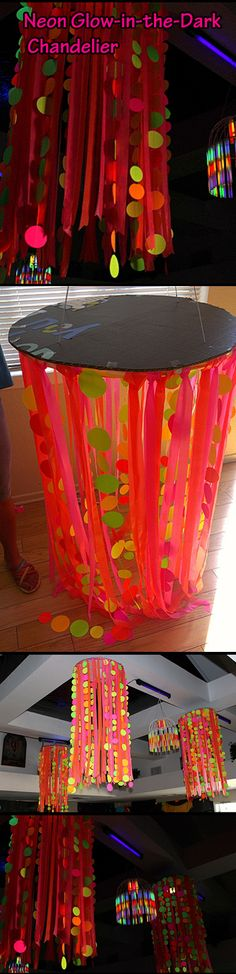 DIY: Neon Glow-in-the-Dark Chandelier. Made from cardboard, plastic flagging tape (from the hardware store), neon paper circles punched out in different sizes & sewn together and a hula hoop from the Dollar Tree. Glow-in-the-Dark Spooktacular Halloween Party Decorations & Ideas