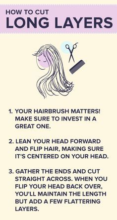 You don't have to head to the salon to get the perfect haircut. These easy tips will help you cut your own long layers. Cut Own Hair, Cut Hair At Home, Trim Your Own Hair, How To Cut Your Own Hair, Hair Trim, Short Hair Updo, Haircuts For Long Hair, Hairstyles For Round Faces, Long Hair Cuts