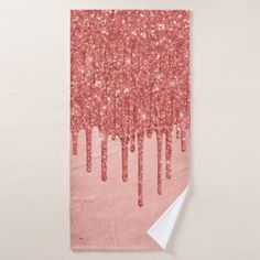 Coral Drip Bath | Trendy Metallic Glitter Icing Bath Towel Set