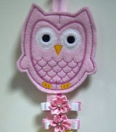 Pink Owl Bow and Clipper Holder Keeper with Ribbon #owls #hair clips