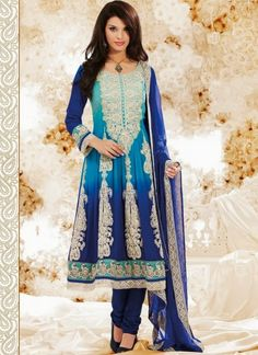 Fascinating Blue #Shaded #Faux #Georgette #Anarkali #Suit