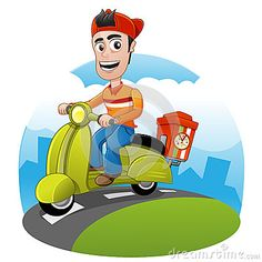 Pizza Scooter delivery by Creepjank, via Dreamstime
