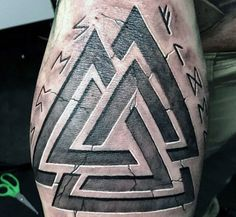 Triangle Stone Viking Runes Tattoos For Men On Arm