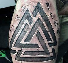 Triangle Stone Viking Runes Tattoos For Men On Arm