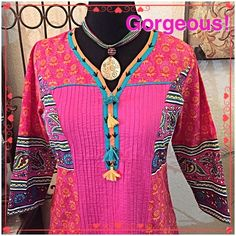 """♥️Gorgeous Multi-colored Indian Dress♥️ Oh how this dress exudes happy!  Colors are vibrant as shown in the pics but looks fantastic in person. Definitely a hippie look and lets bring back that flower power A-line shape, can be belted, long sleeves, and just pull over the head style. Go all out boho & wear a crochet/ fringe vest over it. Measurements: Bust=41"""", Waist=approx. 35-38"""", (loose fit), Length from shoulder=39"""", side vents=18"""". I think it looks best as a long tunic w/ leggings…"""