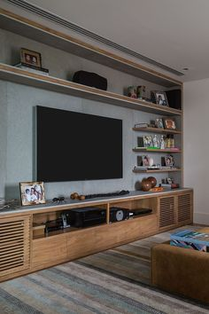Surprising living room theater in boca raton florida youll love Living Room Wall Units, Living Room Tv Unit Designs, Interior Design Living Room, Living Room Decor, Tv Rack Design, Living Room Theaters, Home Theater Installation, Sala Grande, Muebles Living