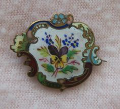 Victorian cloisonne and enameled pin with pansies