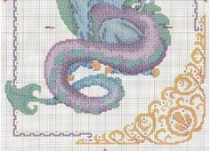 Cross Stitch Embroidery Mythical blue and purple dragon with fancy border full free cross stitch - Page 2 Dragon Cross Stitch, Fantasy Cross Stitch, Cross Stitch Heart, Cross Stitch Animals, Cross Stitching, Cross Stitch Embroidery, Embroidery Patterns, Cross Stitch Designs, Cross Stitch Patterns