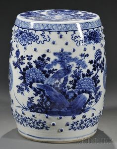 Chinese blue and white garden seat.
