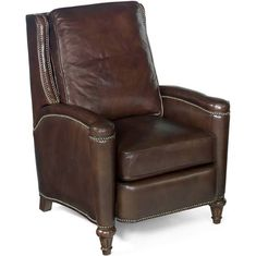 Hooker Furniture Valencia Series 40 Inch Traditional-Style Living Room Arroz Recliner Chair with Nail Head Accents, Turned Legs and Leather Upholstery in Dark Brown Club Furniture, Hooker Furniture, Furniture Upholstery, Living Furniture, Living Room Chairs, Desk Chairs, Lane Furniture, Brown Leather Recliner, Leather Recliner Chair